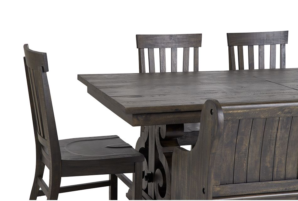 Sonoma Dark Tone Trestle Table, 4 Chairs & Bench