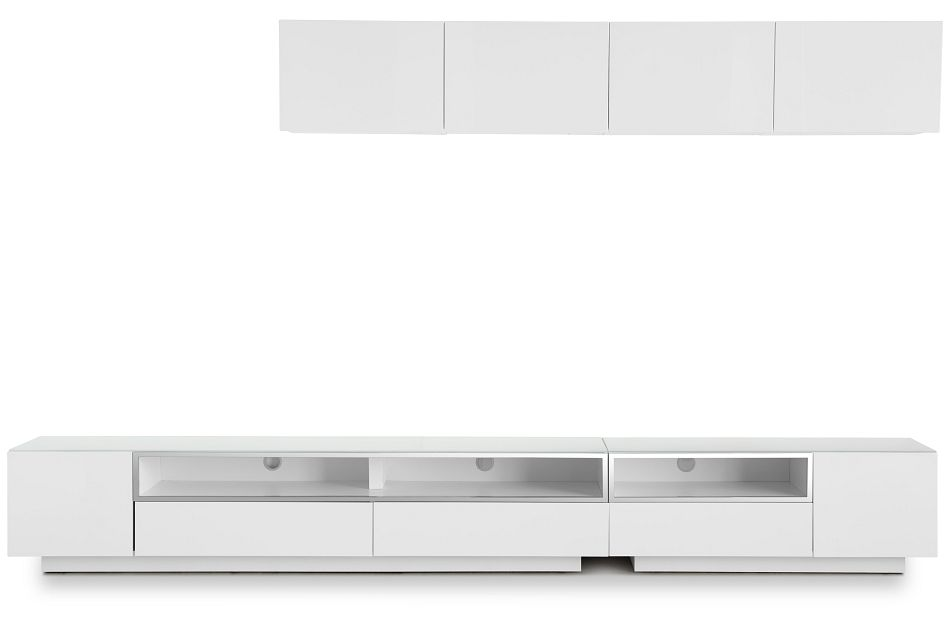 """Vancouver 134"""" White 6-piece Right Modular Entertainment Wall"""