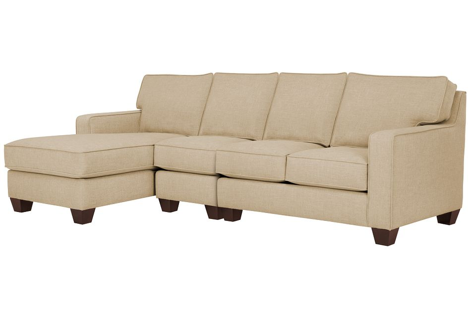York Beige Fabric Small Left Chaise Sectional