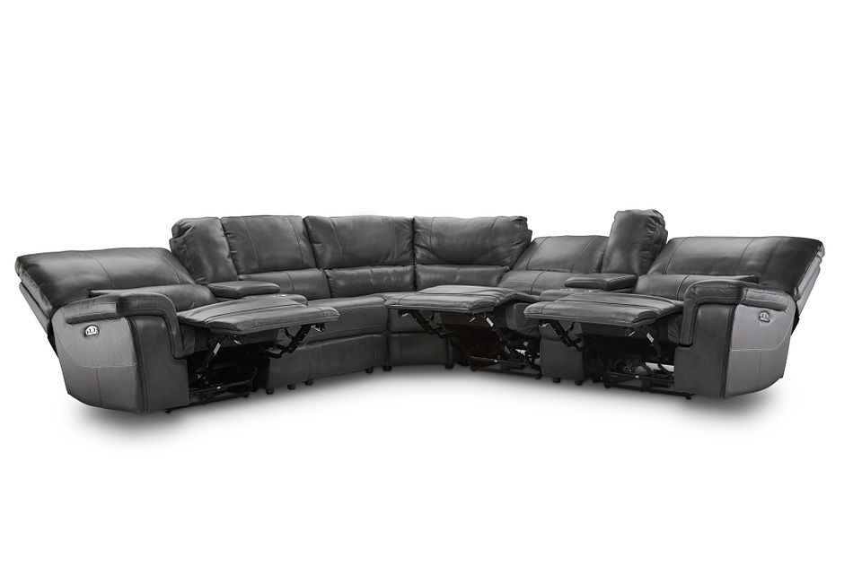 Weston Dark Gray Lthr/vinyl Large Triple Power Reclining Two-arm Sectional
