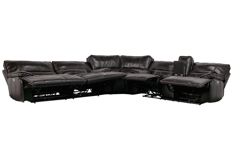 Jesse Dark Brown Lthr/vinyl Two-arm Power Reclining Sectional