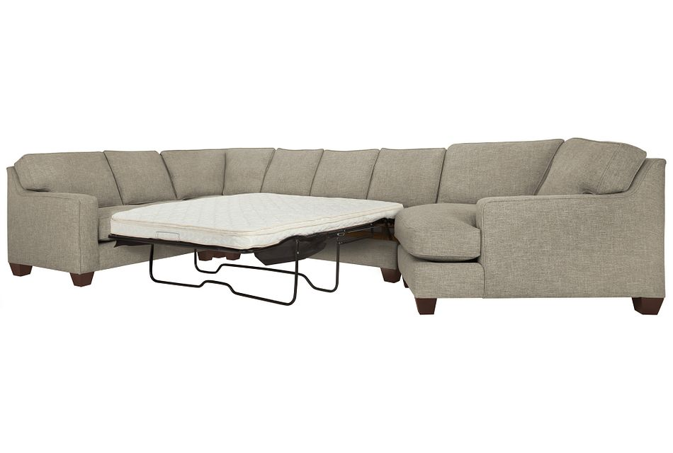 York PEWTER FABRIC Small Right Cuddler Innerspring Sleeper Sectional