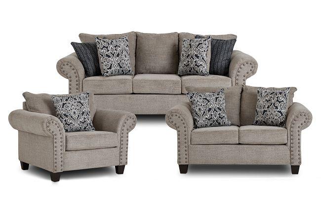 Adrian Light Gray Fabric Living Room