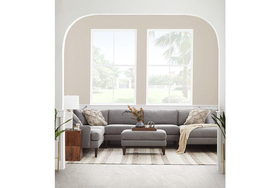 Morgan Dark Gray Fabric Medium Right Chaise Sectional W/ Wood Legs