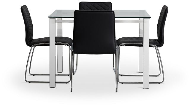 Skyline Black Square Table & 4 Metal Chairs (2)