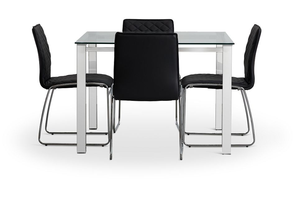 Skyline Black Square Table & 4 Metal Chairs