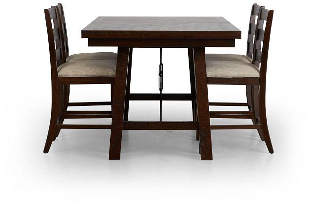 Jax Dark Tone High Table & 4 Wood Barstools (2)