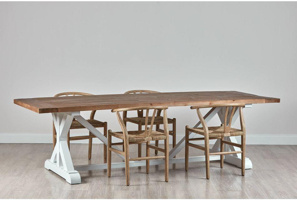 "Hilton Light Tone 110"" Table & 4 Wood Chairs"