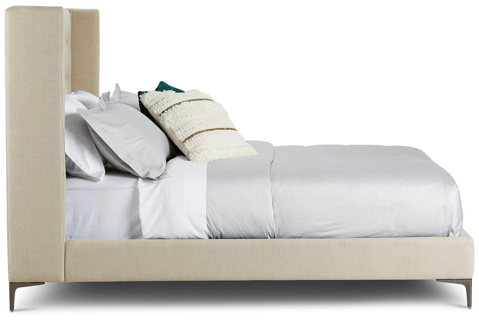 Holland Light Beige Uph Platform Bed