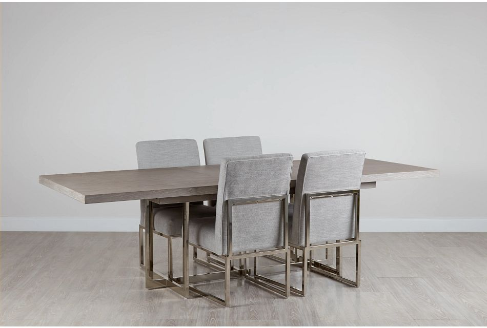 Tribeca Light Tone Trestle Table & 4 Metal Chairs