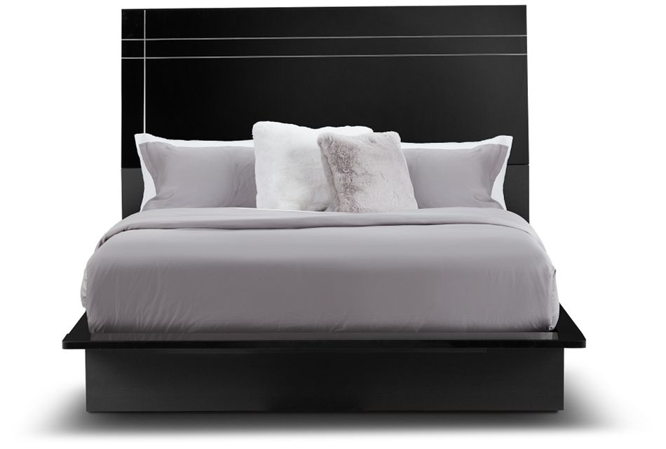 Dimora Black Wood Platform Bed