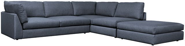 Harper Dark Blue Fabric Right Bumper Sectional (0)