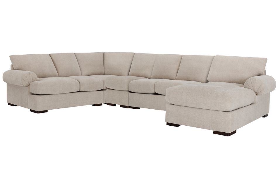 Belair Light Taupe  FABRIC Large Right Chaise Sectional
