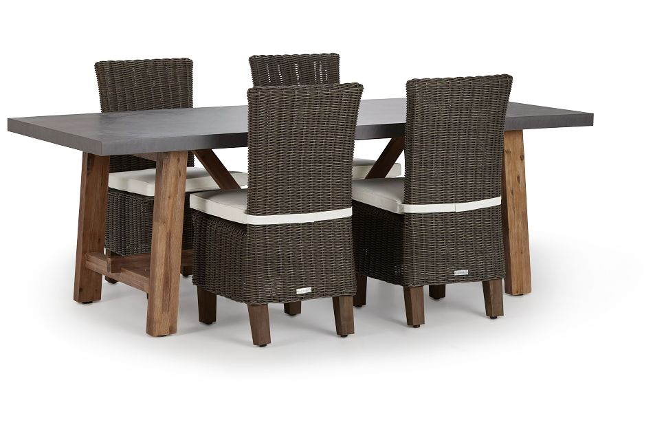 Canyon Gray White Concrete Rectangular Table & 4 Chairs