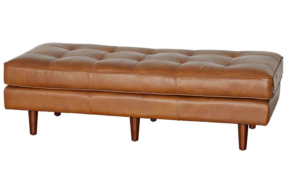 Encino Medium Brown Leather Ottoman