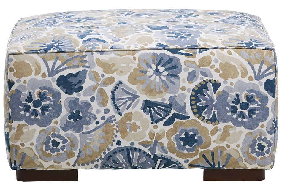 Waterflower Blue Fabric Cocktail Ottoman