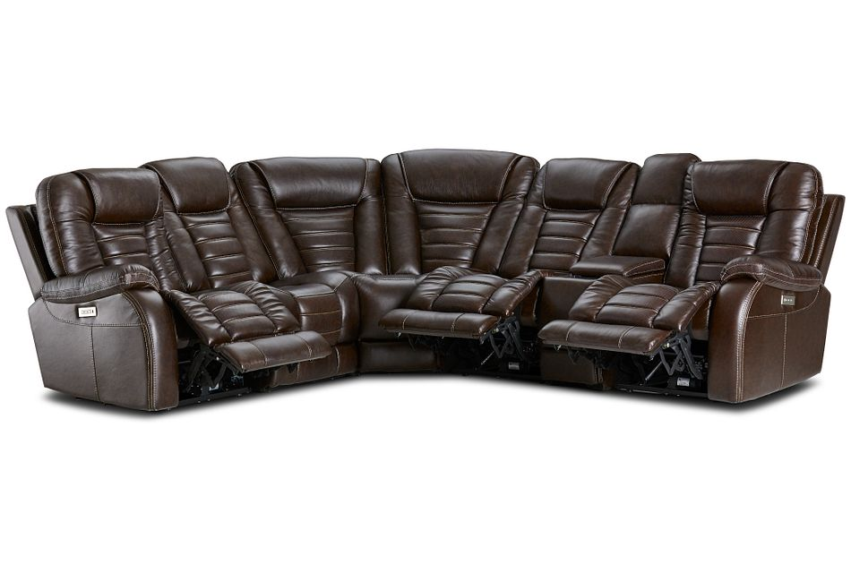 Bradley Dark Brown Lthr/vinyl Medium 2-arm Tri Power Sectional W/ Media Storage