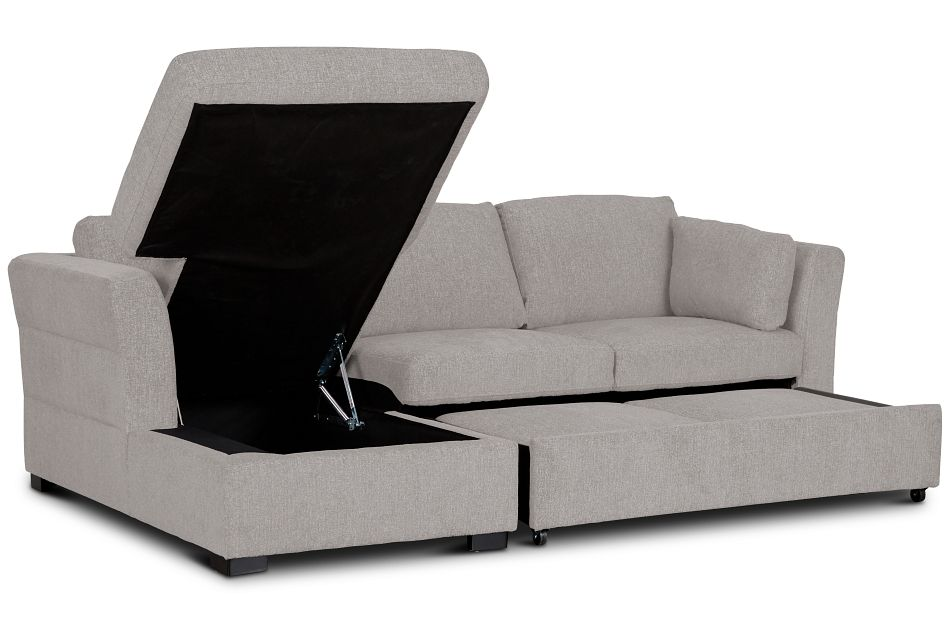 Amber Light Gray Fabric Small Left Chaise Sleeper Sectional,  (3)