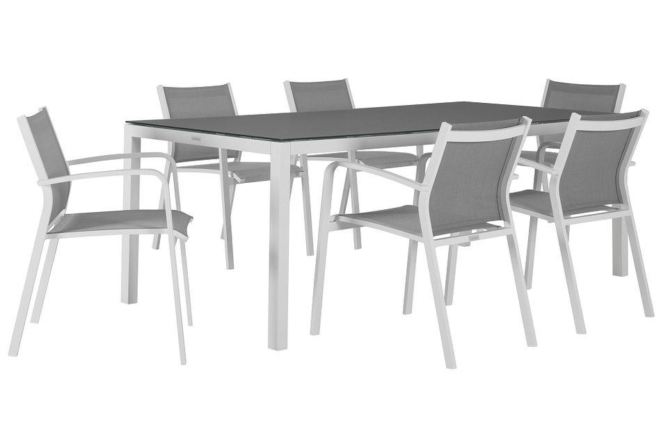 "Lisbon Gray 86"" Rectangular Table & 4 Chairs,  (0)"