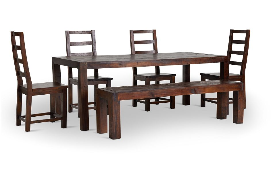 Seattle Dark Tone Rect Table, 4 Chairs & Bench,  (1)