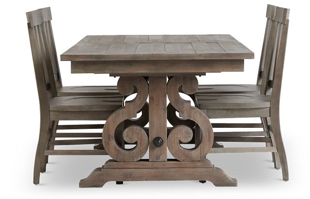 Sonoma Light Tone Trestle Table & 4 Wood Chairs (3)