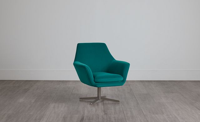 Xander Teal Velvet Swivel Accent Chair (0)