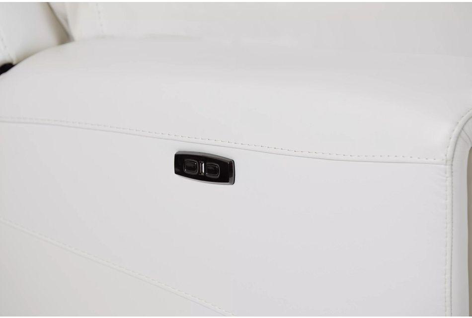 Porto White Lthr/vinyl Large Dual Power Sectional
