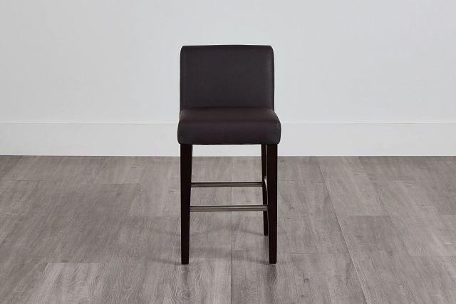 "Cane Dark Brown Micro 24"" Upholstered Barstool (0)"