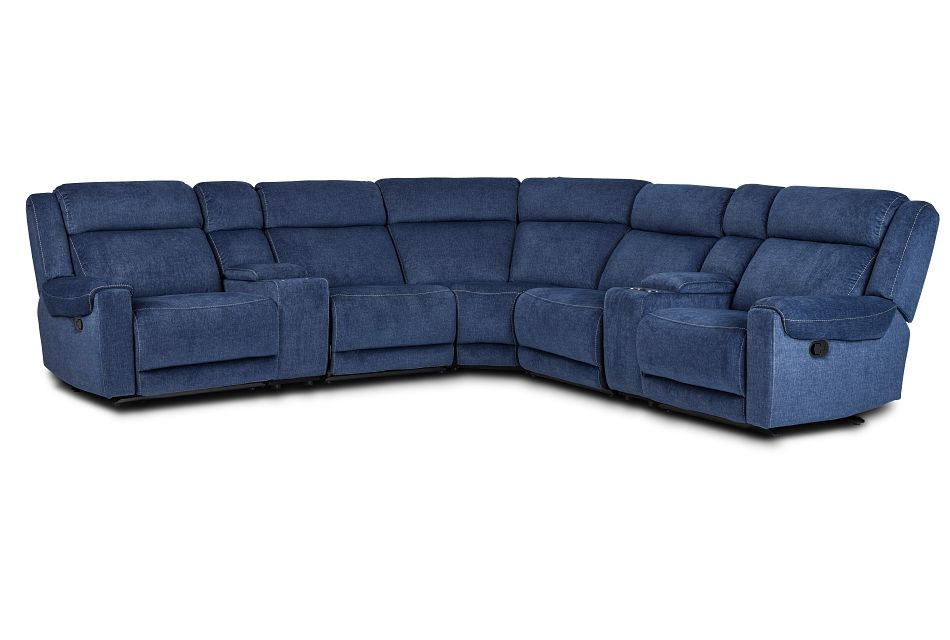 Beckett Dark Blue Micro Large Dual Manually Reclining Two-Arm Sectional,  (1)