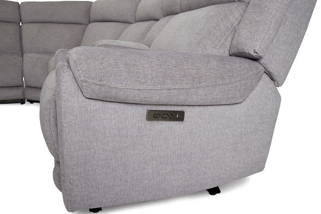 Beckett Gray Micro Large Triple Power Reclining Two-arm Sectional