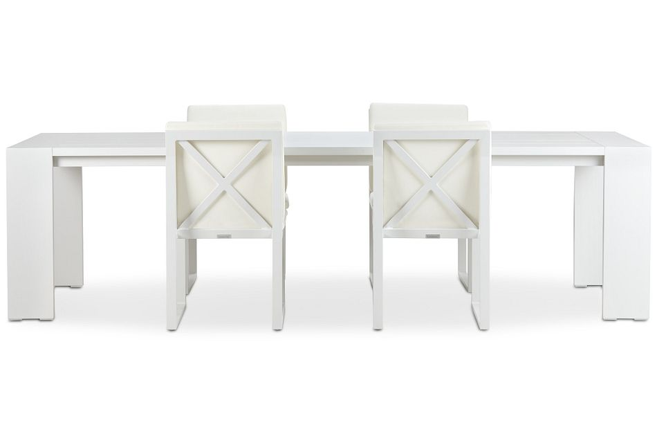 "Linear White 110"" Aluminum Table & 4 Cushioned Side Chairs"