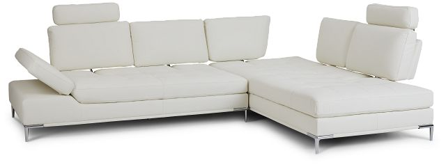 Camden White Micro Right Chaise Sectional With Removable Headrest (3)