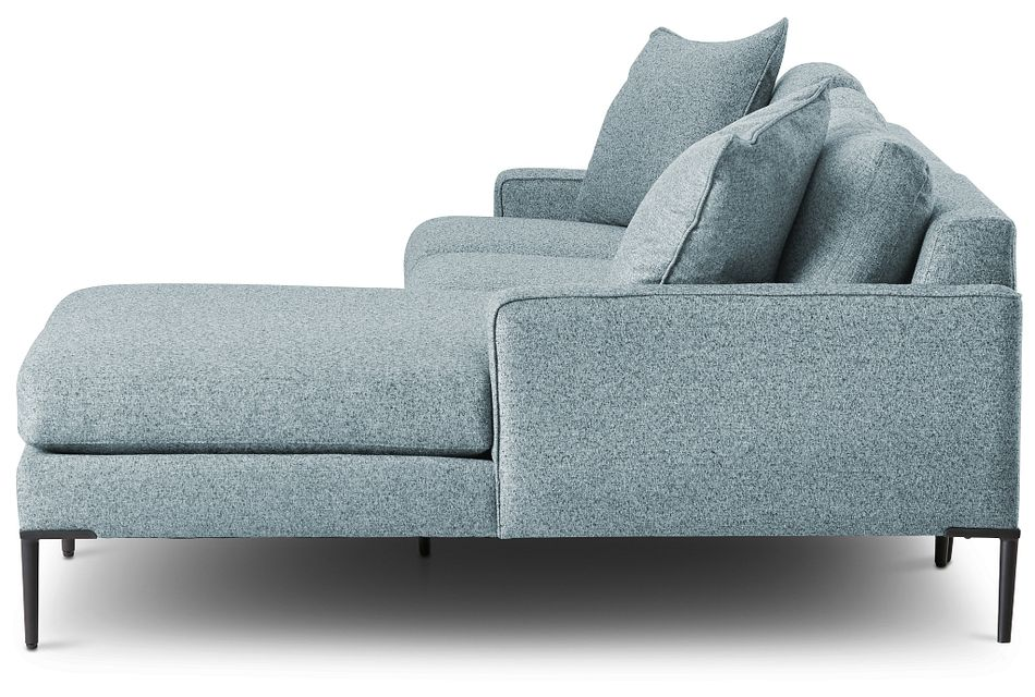 Morgan Teal Fabric Small Right Chaise Sectional W/ Metal Legs
