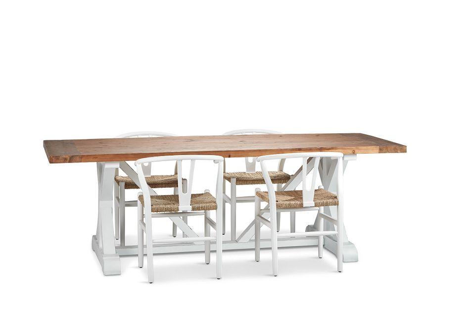 "Hilton White 96"" Table & 4 Chairs"