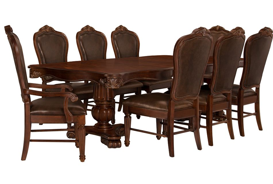 Regal DARK TONE RECT Table & 4 Leather Chairs