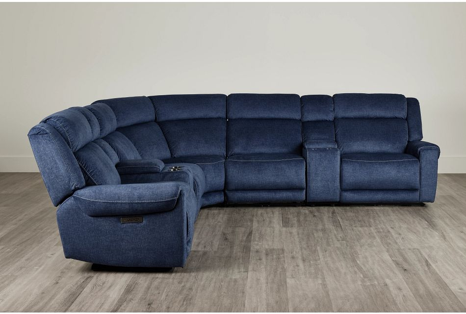 Beckett Dark Blue Micro Large Dual Power Reclining Two-Arm Sectional,  (0)