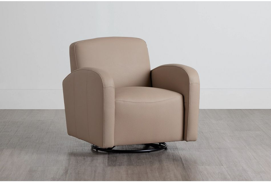 Axis Light Taupe Vinyl Swivel Accent Chair,  (0)