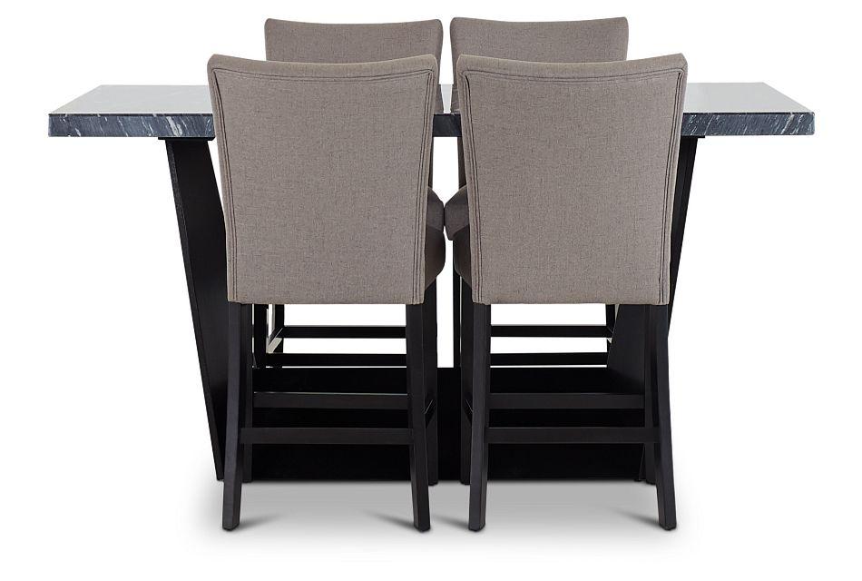 Auburn Dark Gray High Table & 4 Dark Gray Upholstered Barstools, %%bed_Size%% (2)