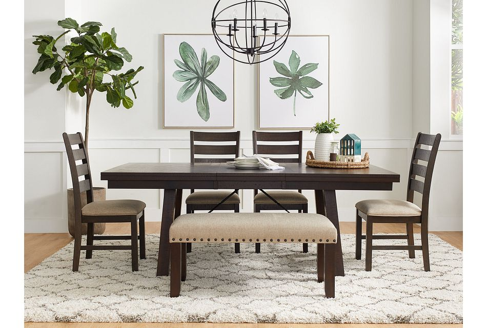 Jax Dark Tone Rect Table & 4 Wood Chairs,  (1)