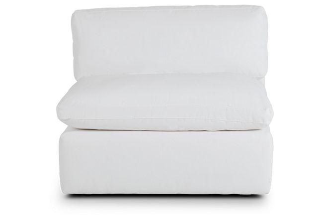 Grant White Fabric Armless Chair