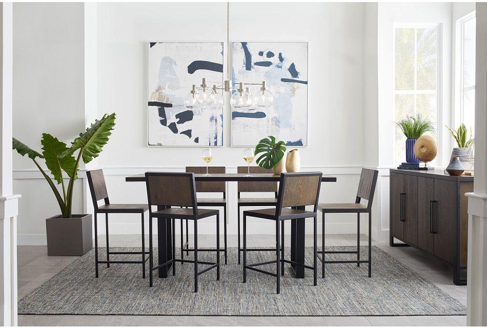 Hudson Dark Tone Wood High Table & 4 Barstools,  (1)
