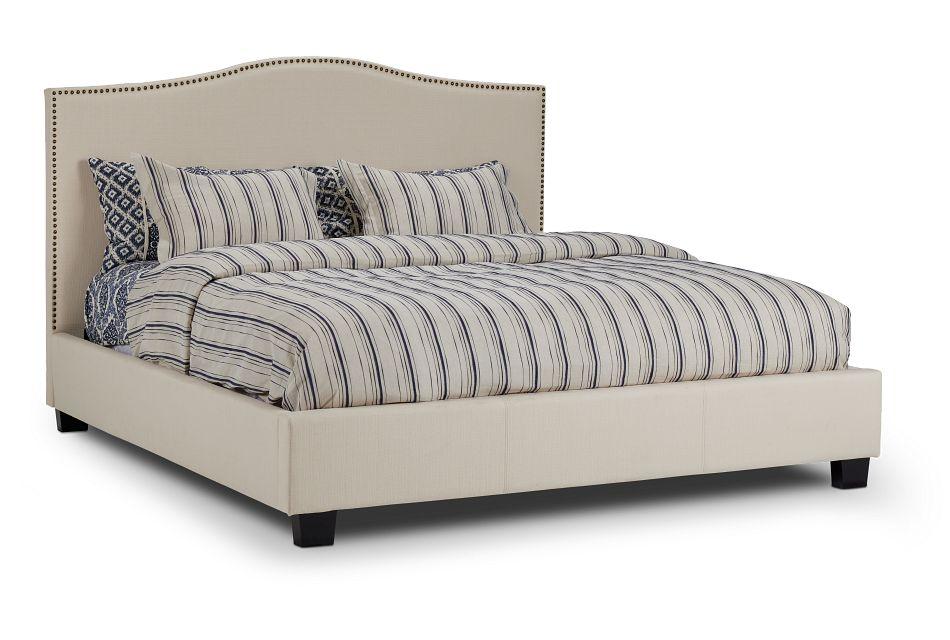 Dawson Beige Uph Platform Bed, King (1)
