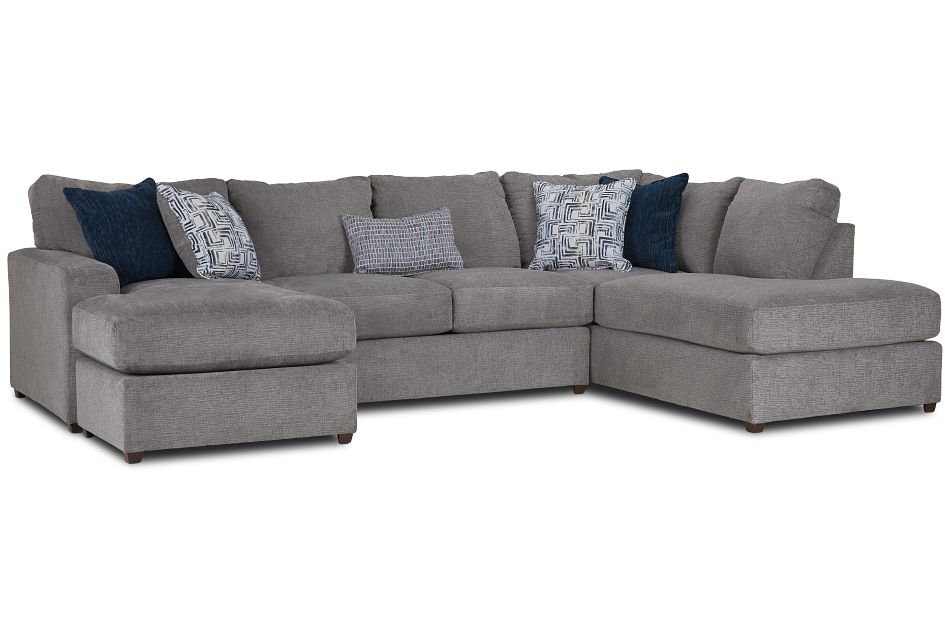 Banks Gray Fabric Right Bumper Sectional,  (2)