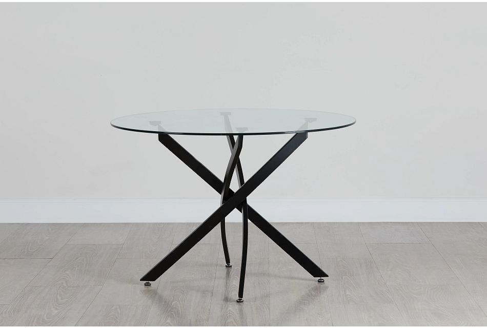 "Havana Glass 43"" Round Table W/black Legs"