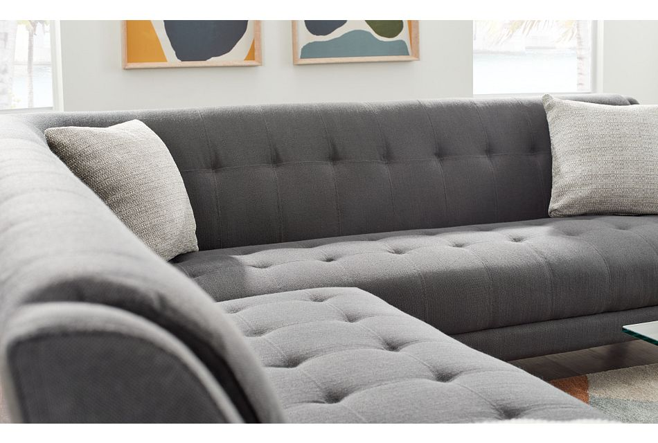 Tahoe Dark Gray Fabric Two-arm Sectional