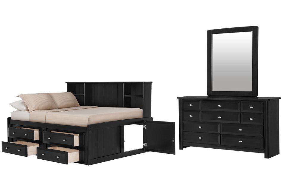Laguna BLACK  Bookcase Daybed Storage Bedroom