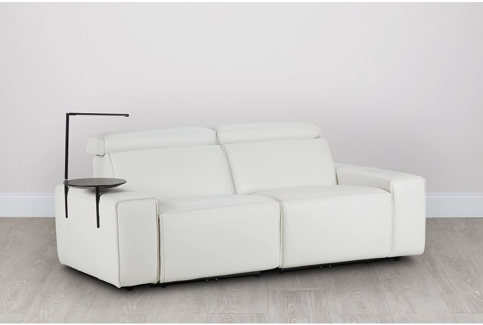 Carmelo White Leather Power Reclining Sofa With Left Table