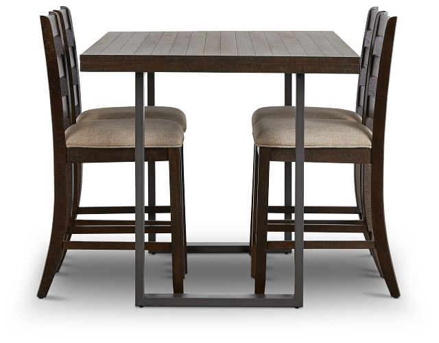Sawyer Dark Tone High Table & 4 Wood Barstools (2)