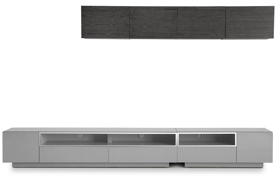 "Vancouver 134"" Gray Dk Gray 6-piece Right Modular Entertainment Wall"