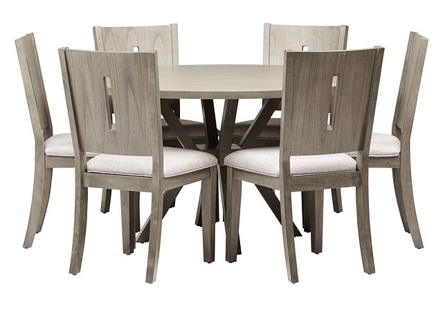 Sienna Gray Round Table & 4 Wood Chairs (1)